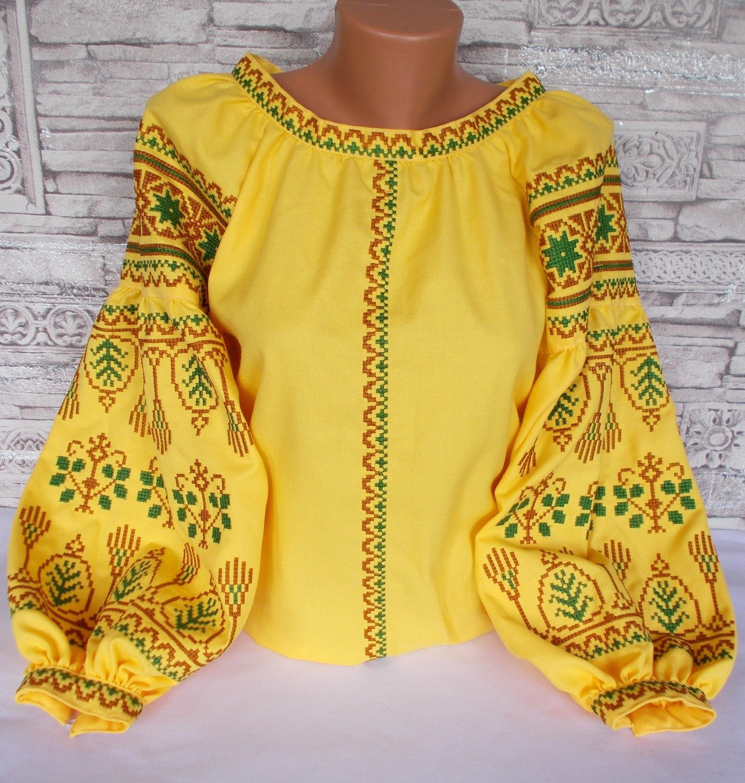 36a3587b85eee0 Вишиванка, жіноча вишивана блузка на жовтому домотканому полотні