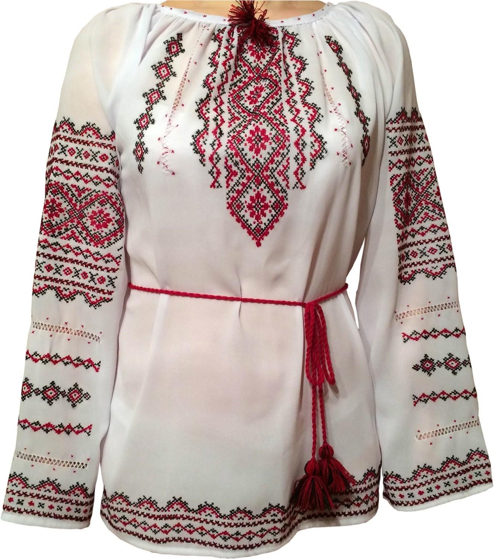 20438b7a0c92e6 Вишиванка, жіноча вишивана блузка на шифоні (Арт. 00531)