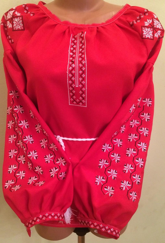 вишиванка жіноча на червоному габардині (Арт. 01056) dbc08cc8e1d9f