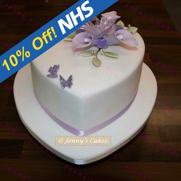 Gretna Heart Shaped Wedding Cake with Sugar Lilies
