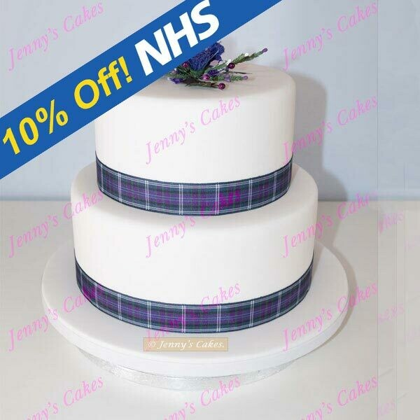 gretna two-tier cake with Tartan Ribbons and Thistles