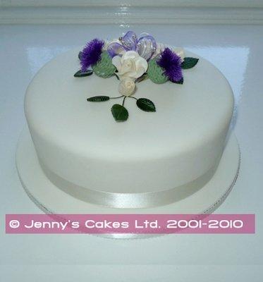 Large Round Wedding Cake with Thistles and  Roses- Gretna range