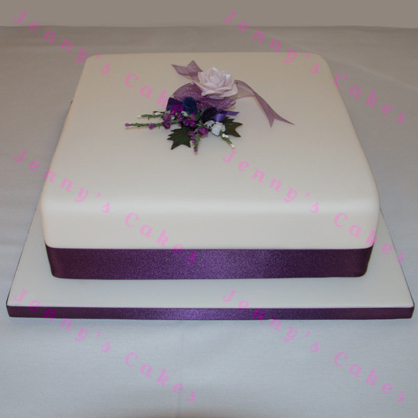 Gretna Large Single-tier Square Scottish Wedding Cake jc-G18-S2A