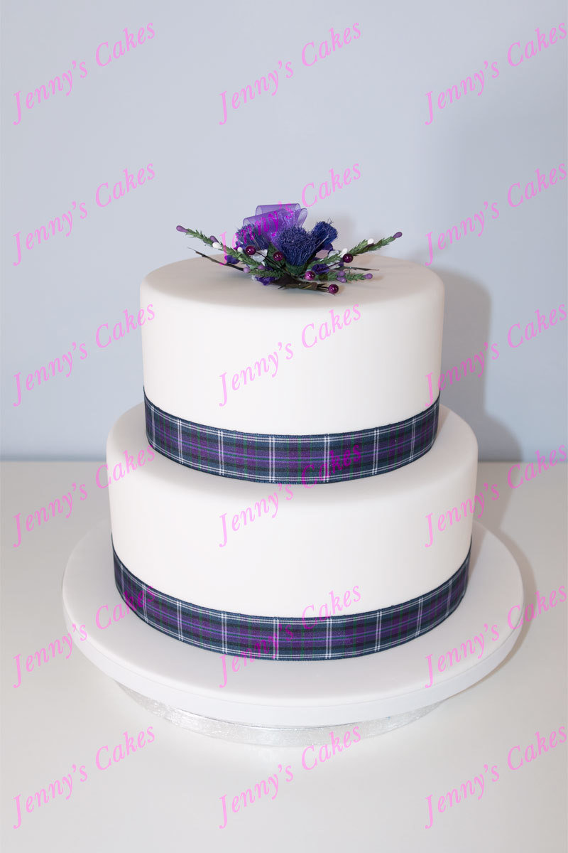 gretna two-tier cake with Tartan Ribbons and Thistles jc-G18-2RA