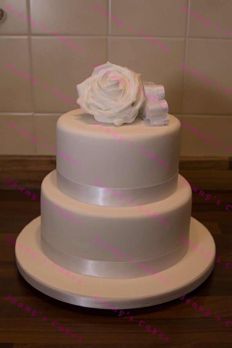 gretna two-tier cake with Silk Rose Topper jc-G18-2rC