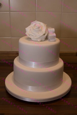 gretna two-tier cake with Silk Rose Topper