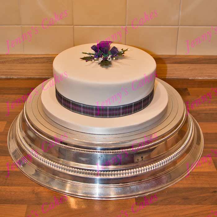 Gretna Single-tier Scottish Wedding Cake with Silk Topper jc-G18-R1A