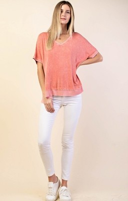 Coral Washed Knit Top