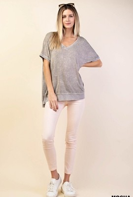 Mocha Washed Knit Top