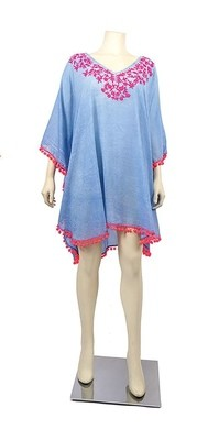 Blue and Hot Pink Embroidered Tunic