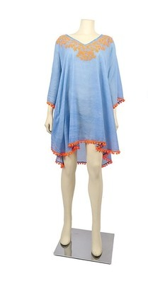 Blue and Orange Embroidered Tunic
