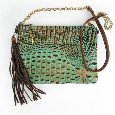 Envelope Crossbody Turquoise Crocodile