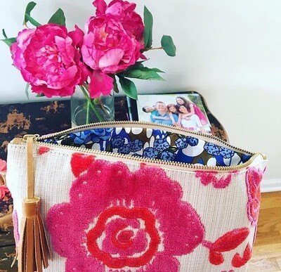 Coral/Pink Chenille Roses Wristlet