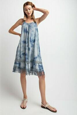 Tie Dye Tunic Dress-Faded Blue