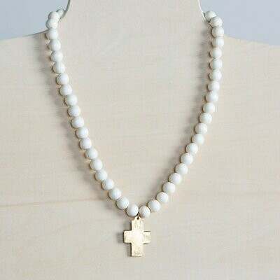 White Cross Pendant Wood Necklace