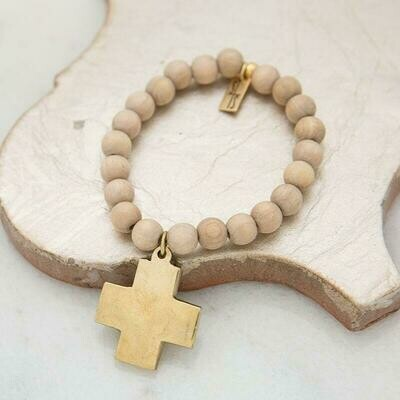 Sand Cross Pendant Stretch Bracelet