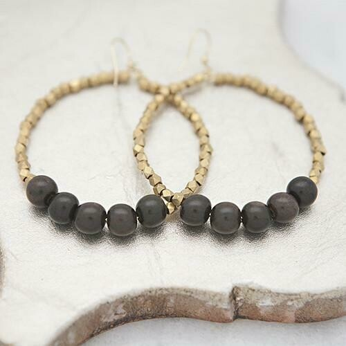 Black Golden Row Earrings