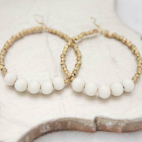 White Golden Row Earrings