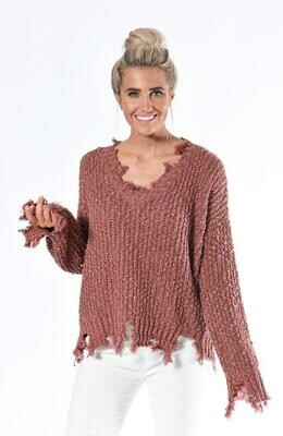 Rust Tattered Yarn Sweater