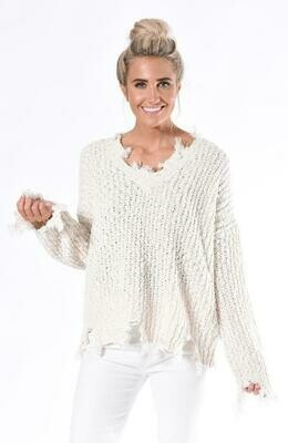 Cream Tattered Yan Sweater