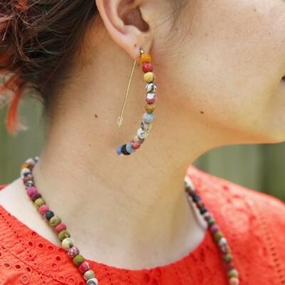 Kantha Linear Arc Earring