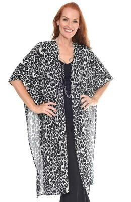 White Leopard Animal Print Long Kimono