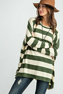 Cashmere Striped Dolman Sleeve Knit Top-Green