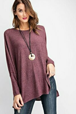 Cashmere Dolman Sleeve Knit Top-Wine