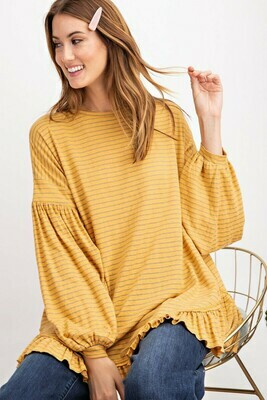 Mustard Balloon Sleeve Stripe Top