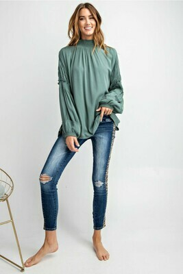Gauze Mock Neck Green Top