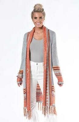 Native Long Cardigan-Grey