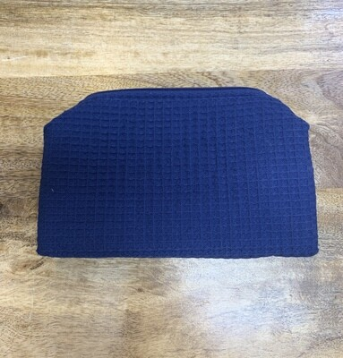 Navy Large Waffle Weave Cosmetic Bag