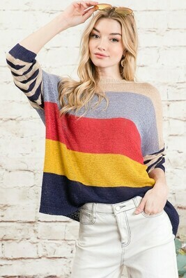 Stripe Multi Color Thin Sweater
