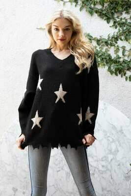 Star Print Back/White Sweater