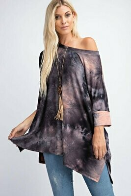 Tie Dye Tunic Top-Black