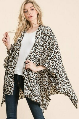 Leopard Cardigan with Ruffles-Ivory