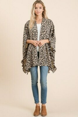 Leopard Cardigan with Ruffles-Taupe