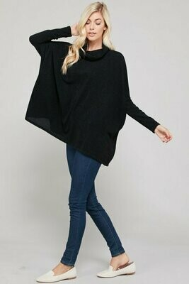 Cowl Neck Hacci Sweater-Black