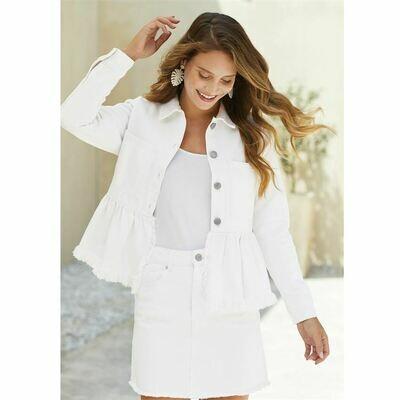 Crop Ruffled Jacket-White
