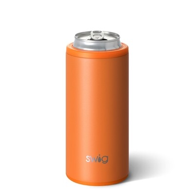 Matte Orange 12oz Skinny Can Cooler