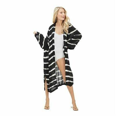 Athena Tye Dye Kimono-Black