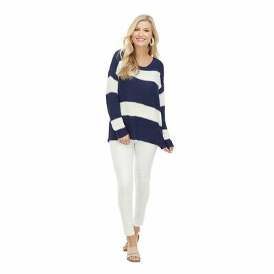 Tommy Striped Pullover-Navy