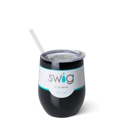Black 12 oz Stemless Wine Cup