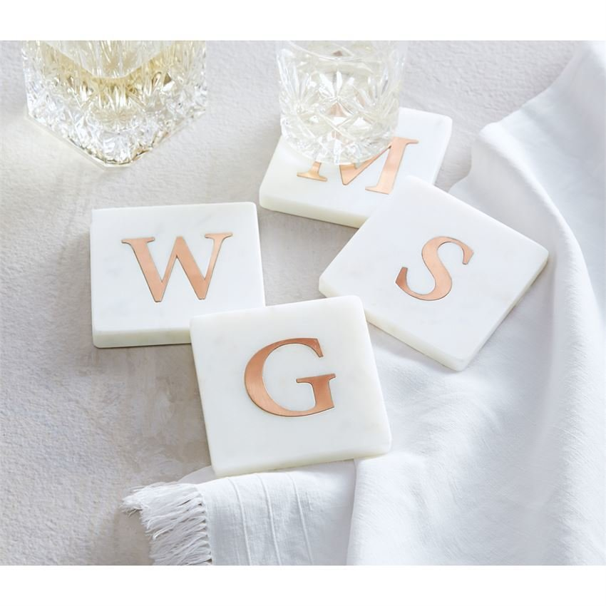 Set of 4 Initial Marble and Coaster Set