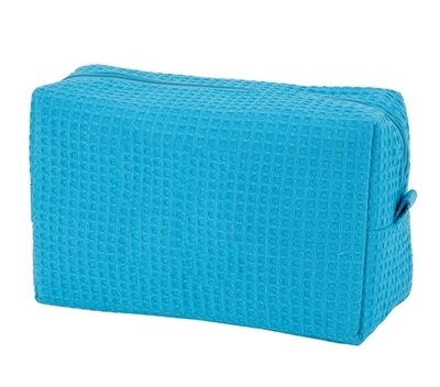 Tropical Blue Large Waffle Weave Cosmetic Bag