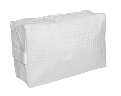 White Large Waffle Weave Cosmetic Bag