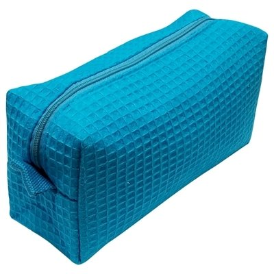 Tropical Blue Small Waffle Weave Cosmetic Bag