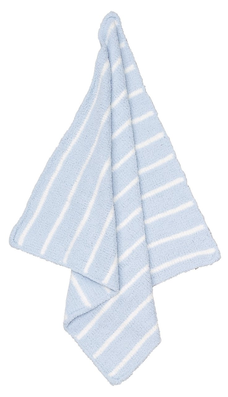 Striped Light Blue/Ivory Chenille Blanket