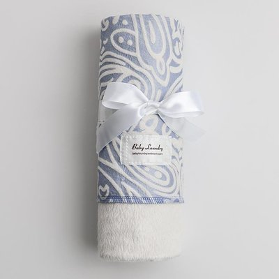 Blue and White Swaddle Blanket