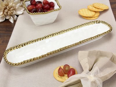 Porcelain Cracker Tray-White